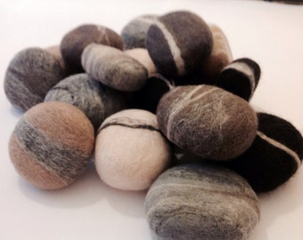 2 Felted Soap Pebbles. Hand felted Soaps, beach theme,