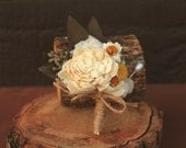 Cream Hydrangea Sola Flower Craspedia Boutonniere, Dried Flower Boutonniere, Sola Flower Grooms Boutonniere with Hydrangea and Craspedia