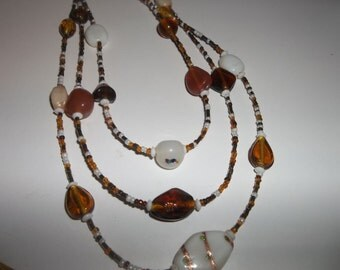 Beaded Necklace, Amber tone glass bead necklace