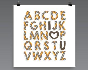 I LOVE YOU (Patterned - ZigZag Harvest) Alphabet Poster Print - Nursery, Kids Room, Wall Art Modern