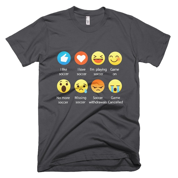 Emoji (emoticon) I Love Soccer Sayings T-Shirt (RELAXED FIT)
