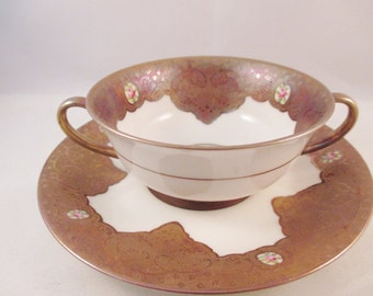 French Porcelain Soup Cup/Saucer, Interior Gold and Cameo Decoration.