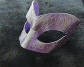 Hand Molded Floral Embossed  Purple Leather Masquerade Mask