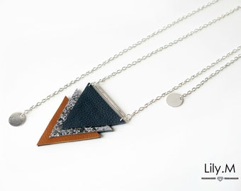 Necklace / Leather Jewelry Dos geometric blue and camel IRISA, Lily.M