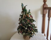 Wonderful Vintage Hand Made Buttons & Bows Tabletop Christmas Tree - 2 ft - Folk Art