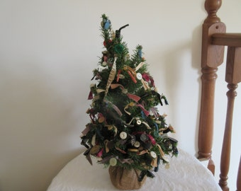 Wonderful Vintage Hand Made Buttons & Rags Tabletop Christmas Tree - 2 ft - Folk Art