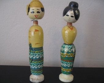 Vintage Japanese Man and Woman Wooden Bobble Heads, Set of Two