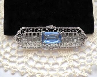 Antique Edwardian Art Deco  Silver Filigree Brooch Pin  c 1920
