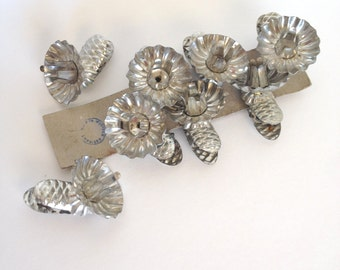 Vintage Silver Metal Candle Clip Holder Christmas Tree, Pine Cone, Western Germany, Lot of 8