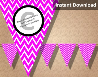 Hot Pink Chevron Bunting Pennant Banner Instant Download, Party Decorations
