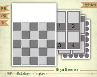 Bingo Game 5x5 - Digital Collage Sheet Layered Template - (T092)