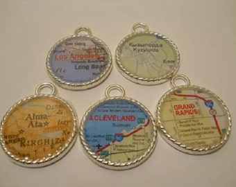 I will make a map charm of anywhere in the world