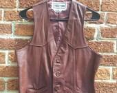 Vintage 1970's Oxblood Red Leather Biker Vest Chess King Medium 38 Chest