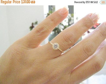 VALENTINES DAY - Dainty gold solitaire diamond ring, CZ diamond ring, Cz solitaire ring, Size 7.5