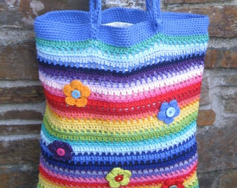Hand crocheted tote bag/purse. Unique. Fully lined with attached purse. Fabulous colours and very posh.Decorated with buttons. OOAK.