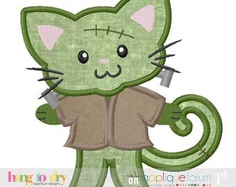 Frankenstein Kitty Trick or Treat Halloween Custom Tee Shirt - Customizable