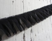 1 Yard Black Pleated Tulle Ruffled Lace Trim 2 1/8""