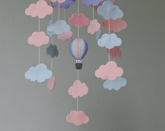 READY TO SHIP  Rose Quartz & Serenity cloud bank baby mobile - clouds mobile-hot air balloons clouds baby mobile-up in the sky-pink purple