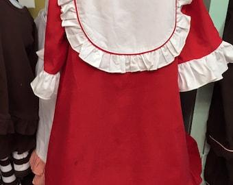 Red Corduroy Ruffle Bib Dress