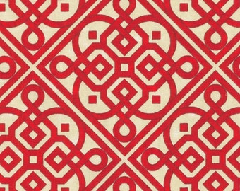 Waverly Lace It Up Scarlet Red and Cream Fabric Home Decor Weight Fabric by the yard - Same Day Shipping
