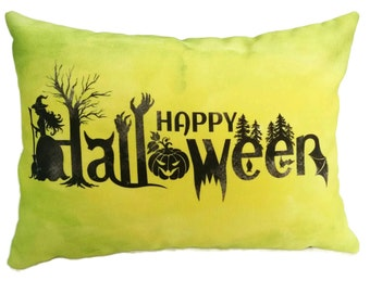 "Decorative Pillow Cover, Throw Pillow Cover, ""Happy Halloween"" Pillow Cover, 12 x 16 inch"