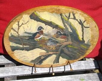 OVAL Wood Wall Hooks Rack Hand Painted Duck Nature Scene Solid Rustic Shabby Keys Hook