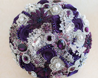 Purple brooch bouquet. Silver wedding brooch bouquet, Jeweled Bouquet, bridal bouquet, custom wedding bouquet.