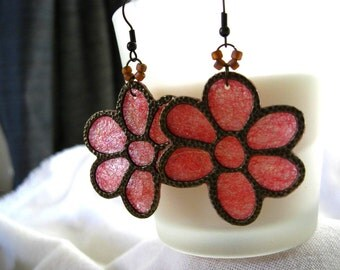 Peach and Bronze Flower Earrings.  Fiber Dangle Earrings. Irridescent Fiber Jewelry. 2-3/4 inch Earrings.