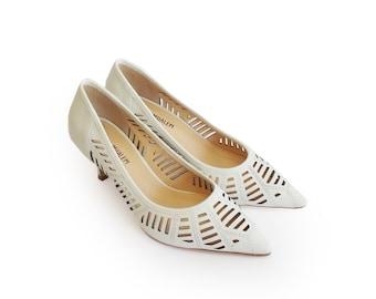 Women's wedding shoes, Wedding white heels, Pumps shoes, Leather shoes, bridesmaid shoes, Elegant shoes, Laser cut shoes