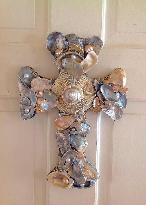 Nautical cross christian gift housewarming seashell for Anchor decoration runescape