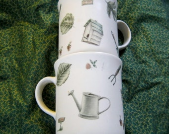 Pfaltzgraff Naturewood Mug Duo Garden Theme Minty