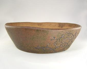 Round Bonsai Pot With Moss, Unglazed Tan and Green Succulent Pot, Bonsai Planter, Rustic Shallow Flower Planter, Clay Plant Pot 03-16-32