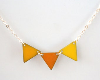 "Necklace ""golden yellow mustard pennant"""
