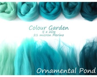 Jade Merino Shade sets - 21 micron Merino wool - 100g - 3.5oz - 5 x 20g - Colour Garden - ORNAMENTAL POND