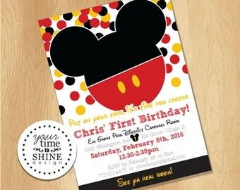 Digital File Only - Mickey Mouse Confetti Invitation