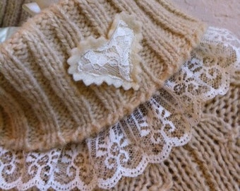 Beige Warm Winter Sweater With Hearts And Lace