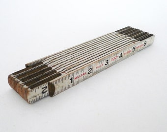 Folding Jointed Wood Ruler Industrial White Wall Art