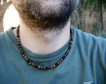 Mens Beaded Tiger Eye Necklace, Tiger Eye Jewelry, Mens Beaded Jewelry, Women's Beaded Necklace, Necklace for Men, Minimalist Modern Jewelry