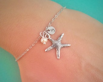 Silver starfish bracelet with freshwater pearl and initial charm , initial bracelet