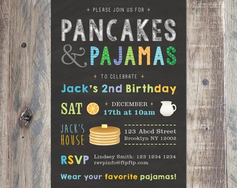 Custom Pancakes And Pajamas Invitation - Kids Birthday - Personalized With Your Party Details - Boy's Birthday - Printable PDF or Jpeg