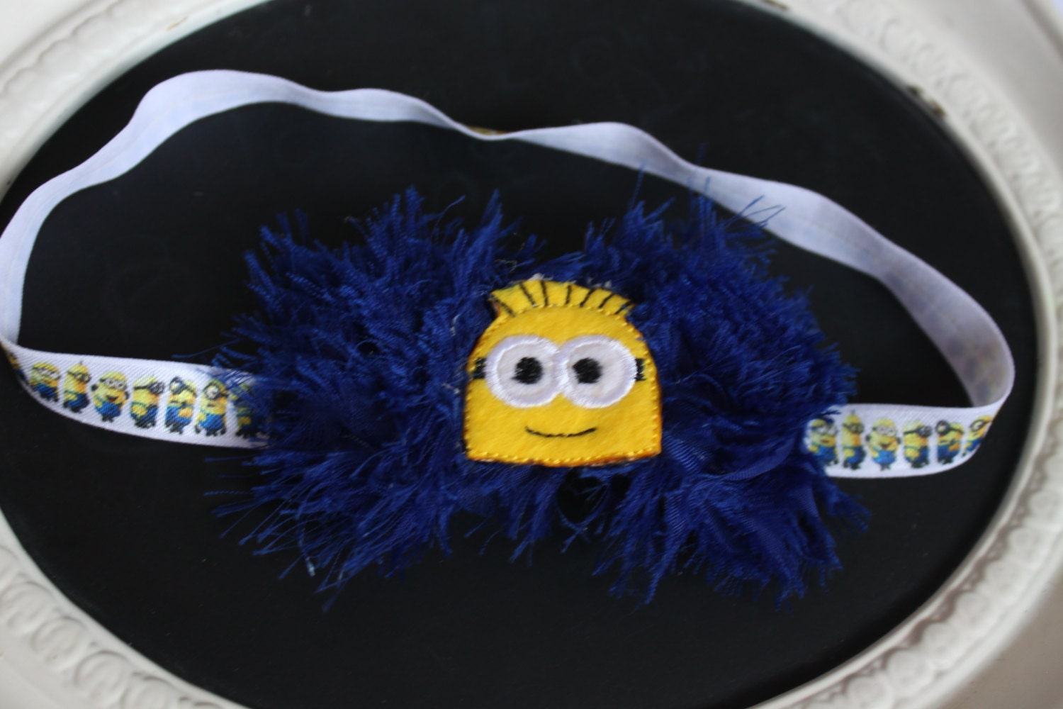 Minion Felted Center On Navy Dark Blue Shabby Chic Flowers On White