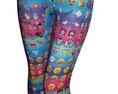 Youth Emoji Leggings on Colorful Background, Girls Leggings, Printed Leggings, Yoga Pants, Running Pants, Exercise Pants