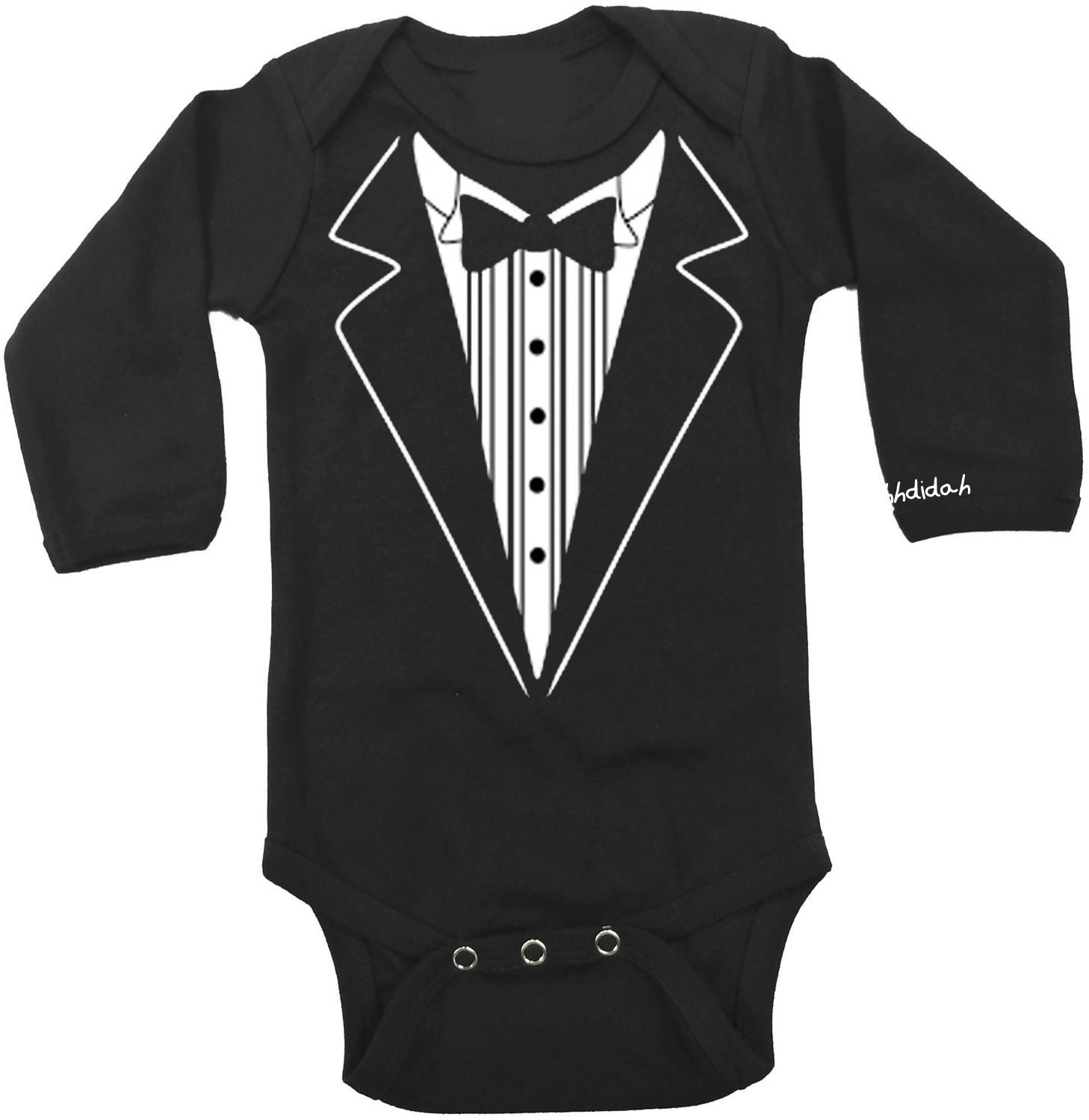 Your baby boy will look irresistibly cool in this tuxedo baby one piece when you walk in the party. This baby tuxedo shirt has a red bow tie and cummerbund. Cool baby clothes like this tux baby romper are more comfortable than dressing him in a button.