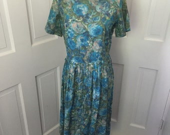 60's green and teal watercolor flowered party dress