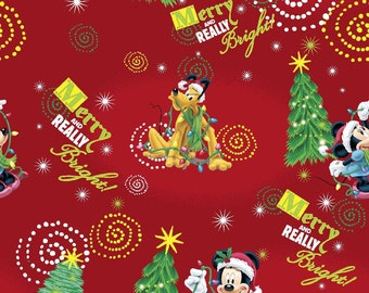 Christmas Mickey Merry & Really Bright on dk red cotton   Crib/toddler fitted  sheet