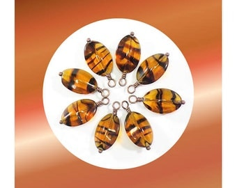Oval Pillow Tortoiseshell Bead Charms, wire wrapped for earrings or pendants - Set of 2, 4, 6, or 8