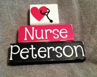 Nurse wooden block set, clinic gift, school nurse, nurse's day gift