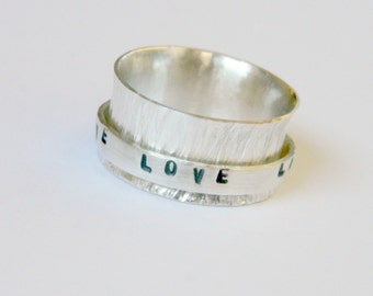 Live Love Laugh silver ring, silver spinner ring, bark tree ring, hammered ring, silver band ring, woman spinner ring, textured silver ring