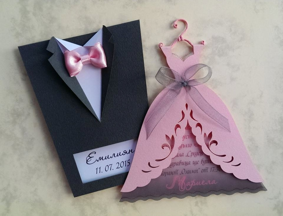 Bridal Wedding Invitations Bride and Groom Tuxedo