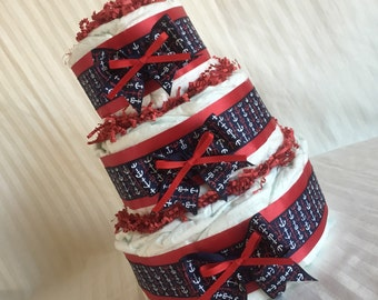 Handmade Diaper Cake - Anchor Theme - New Baby - Red Blue White Sail Away - Three Tier Cake Wow Your Friends